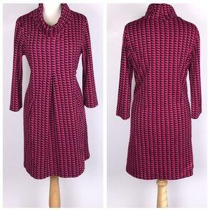 Tyler Boe Pink Geometric Print Cowlneck Dress